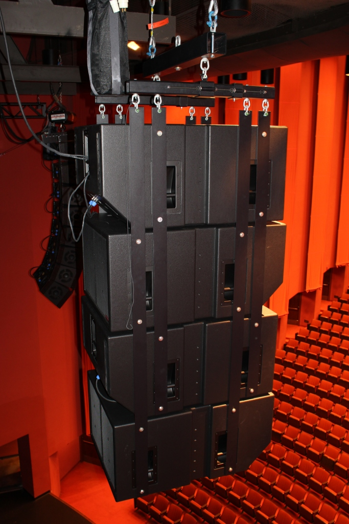 Eaw- Eastern Acoustic Works SB1001 set up in a four way cardioid cluster for outstanding subwoofer performance. Polar Focus designed the complete custom cluster, all the way up to the roof attachment.