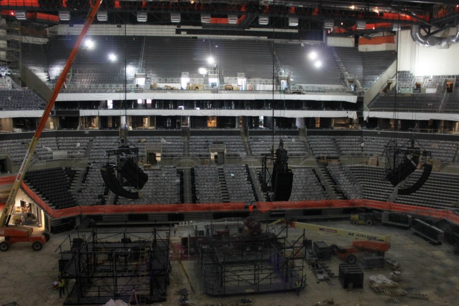 Three EAW line arrays with Motor Zbeam rigging at the Barclays Center.