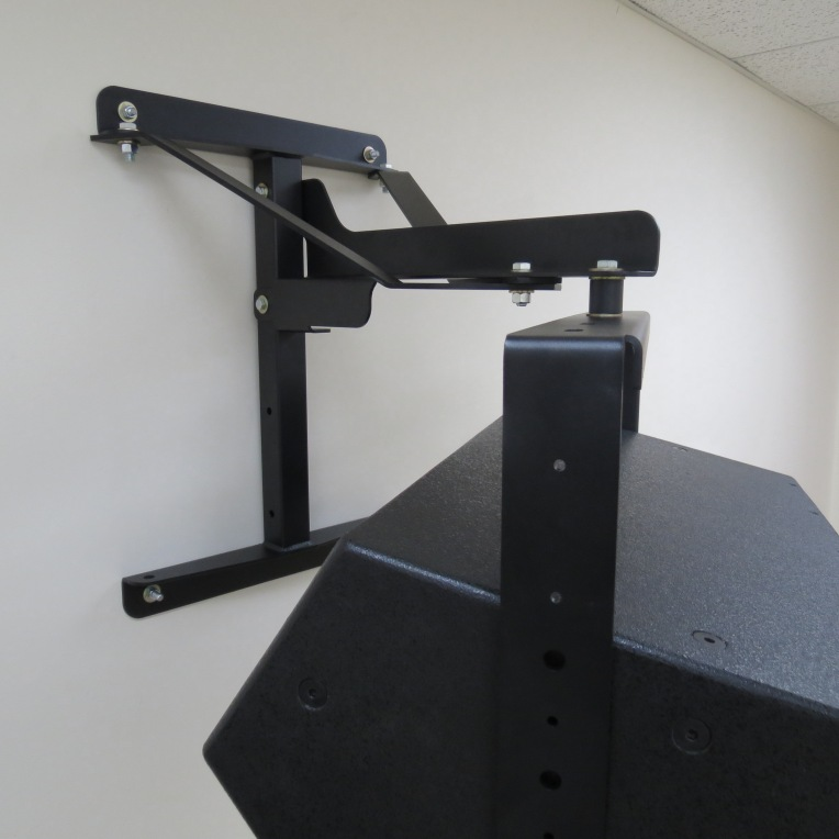 Polar Focus seismic-rated Wall Mount with a Yoke and Fulcrum loudspeaker.
