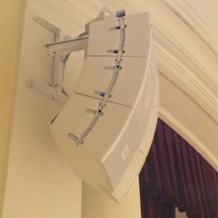 Polar Focus Wall Mounts and Blackbird frame for JBL VRX line arrays at NYU School of Law.