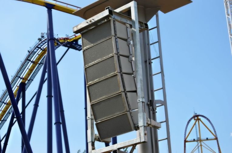 Polar Focus weatherized frame for QSC WL2102-wx at Cedar Point Amusement Park.