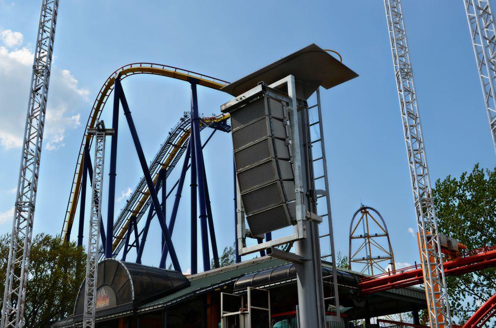 Polar Focus weatherized frame for QSC WL2102-wx at Cedar Point Amusement Park.