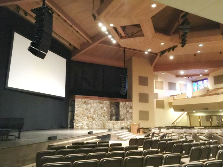 Gateway Fellowship - Meyer Leopard line arrays, Polar Focus Custom Beam Attachment
