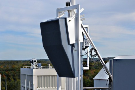 Installation of Polar Focus weatherized frame for Danley loudspeakers at Buffalo Bills Stadium