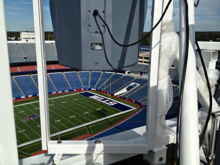 Polar Focus custom weatherized frame system for Danley loudspeakers at Buffalo Bills Stadium.