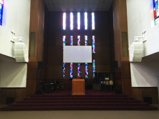 QSC loudspeaker clusters at New Testament Church in Yonkers, NY