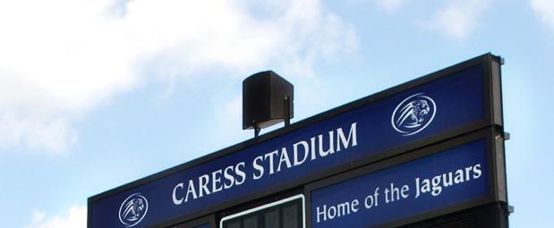 Polar Focus rigging for scoreboard at Caress Stadium