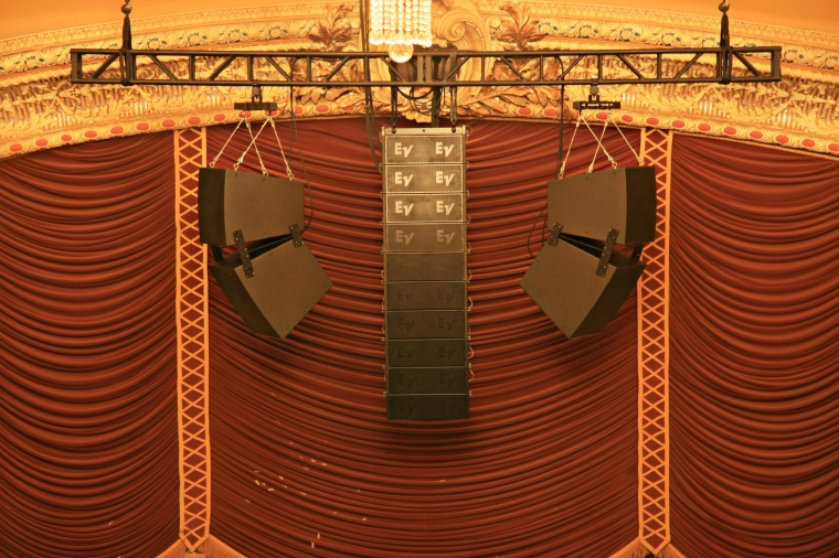 Polar Focus rigging for Electrovoice EVF speakers at Orpheum Theater